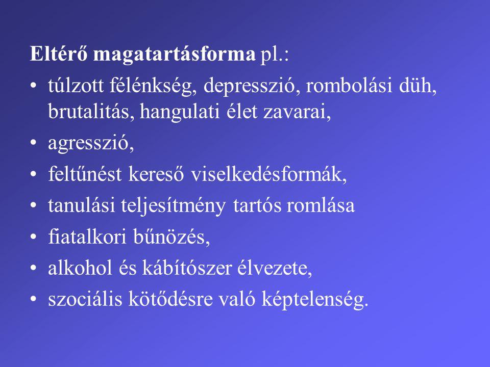 Eltérő magatartásforma pl.: •túlzott félénkség, depresszió, rombolási düh, brutalitás, hangulati élet zavarai, •agresszió, •feltűnést kereső viselkedé