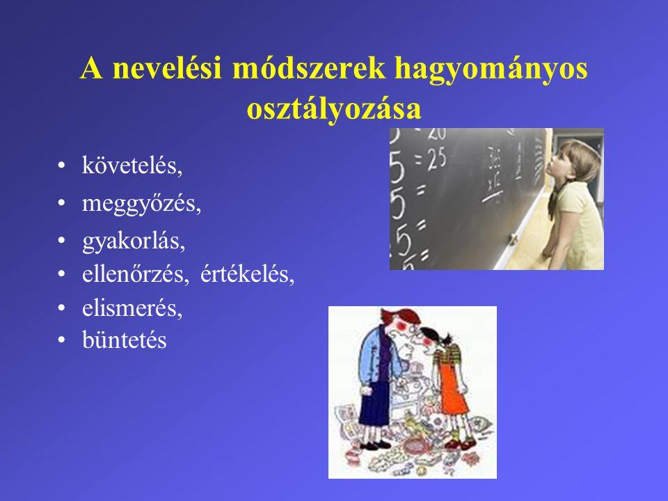 A nevelési módszerek hagyományos osztályozása •követelés, •meggyőzés, •gyakorlás, •ellenőrzés, értékelés, •elismerés, •büntetés