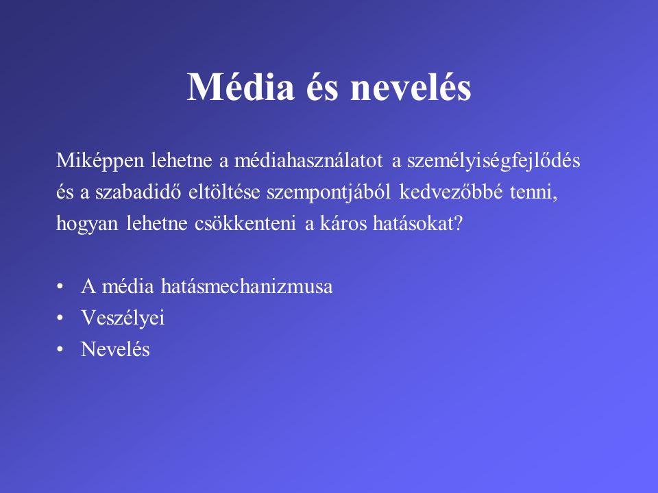 Média és nevelés Miképpen lehetne a médiahasználatot a személyiségfejlődés és a szabadidő eltöltése szempontjából kedvezőbbé tenni, hogyan lehetne csö