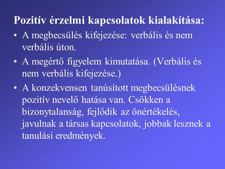 Pozitív érzelmi kapcsolatok kialakítása: •A megbecsülés kifejezése: verbális és nem verbális úton. •A megértő figyelem kimutatása. (Verbális és nem ve