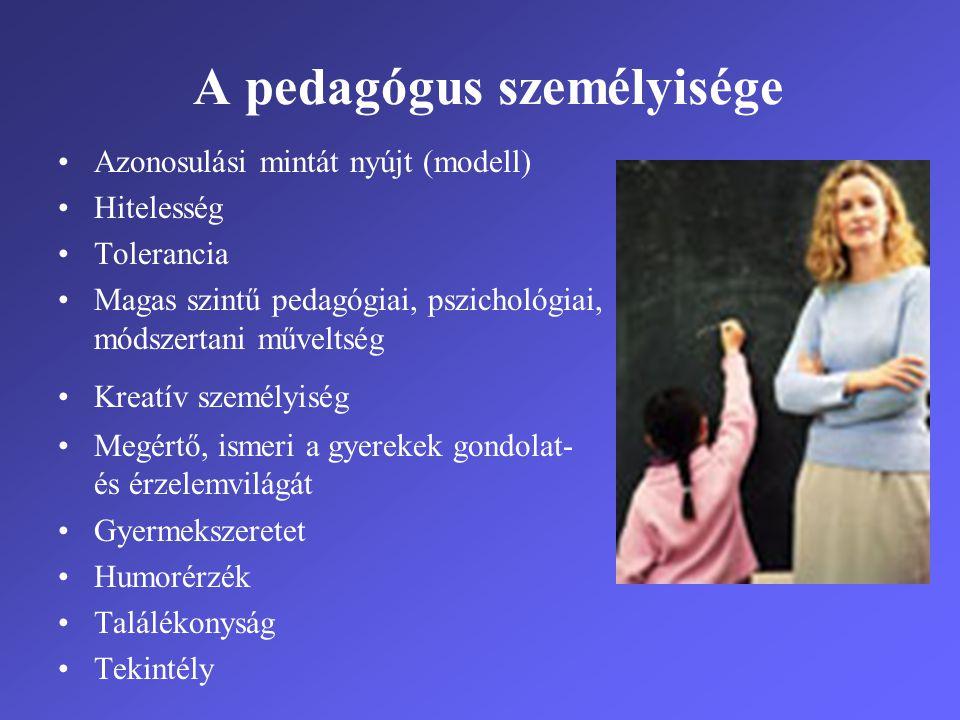 A pedagógus személyisége •Azonosulási mintát nyújt (modell) •Hitelesség •Tolerancia •Magas szintű pedagógiai, pszichológiai, módszertani műveltség •Kr