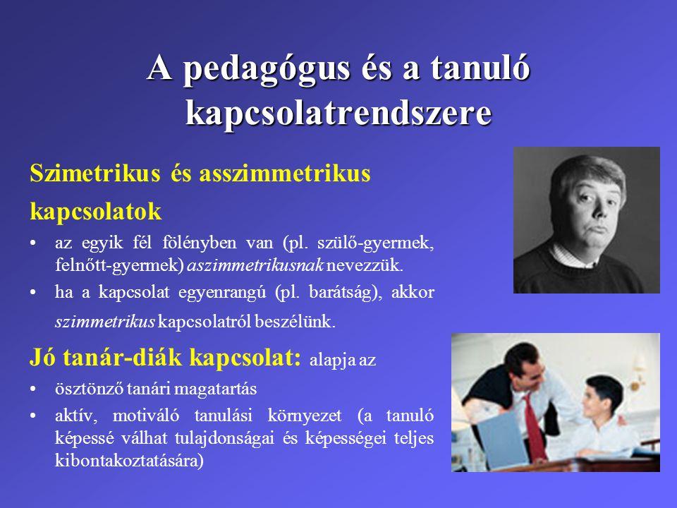 A pedagógus és a tanuló kapcsolatrendszere Szimetrikus és asszimmetrikus kapcsolatok •az egyik fél fölényben van (pl. szülő-gyermek, felnőtt-gyermek)