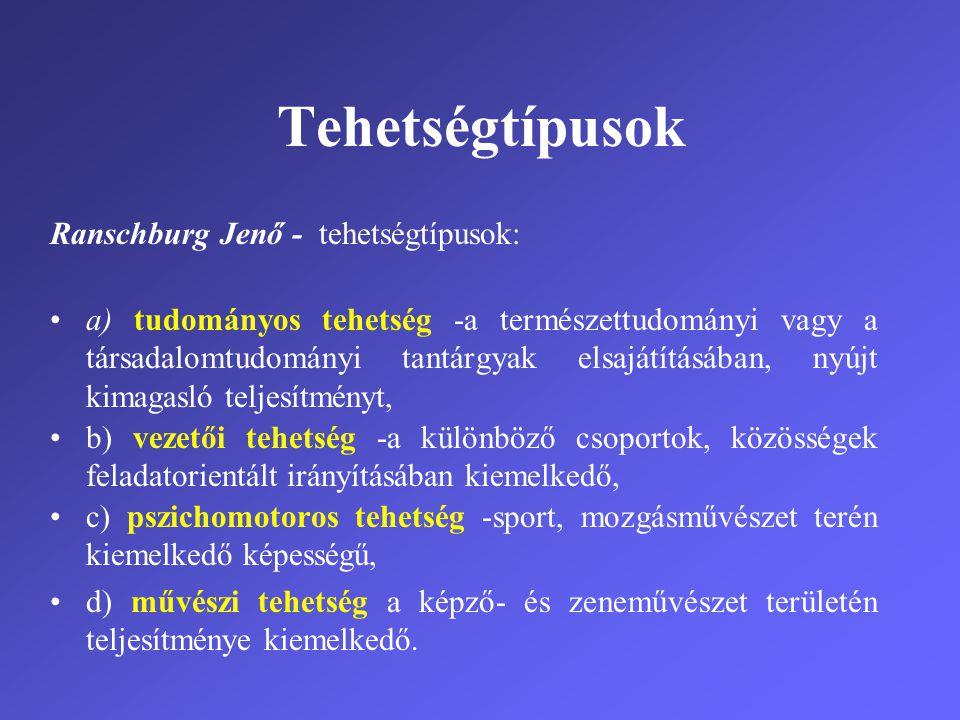 Tehetségtípusok Ranschburg Jenő - tehetségtípusok: •a) tudományos tehetség -a természettudományi vagy a társadalomtudományi tantárgyak elsajátításában