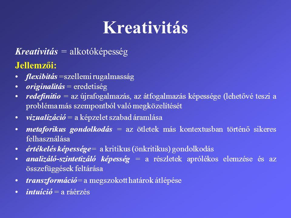 Kreativitás Kreativitás = alkotóképesség Jellemzői: •flexibitás =szellemi rugalmasság •originalitás = eredetiség •redefinitio = az újrafogalmazás, az