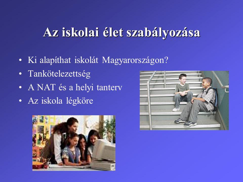 Az iskolai élet szabályozása •Ki alapíthat iskolát Magyarországon? •Tankötelezettség •A NAT és a helyi tanterv •Az iskola légköre