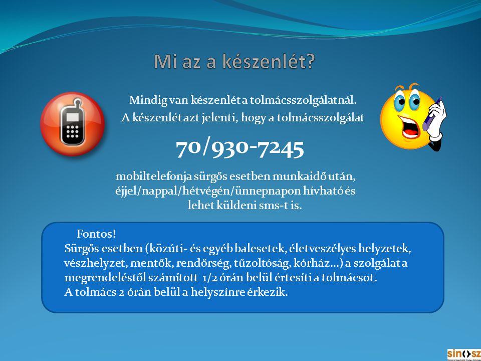 Aki megrendelte a tolmácsolást, s kiderül, hogy le kell mondani valami miatt, akkor 24 órával a tolmácsolás előtt kell lemondania a kérést írásban vagy sms-ben.