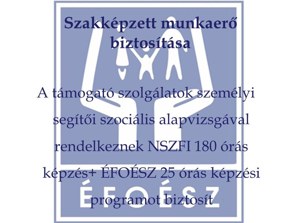 Szakképzett munkaerő biztosítása A támogató szolgálatok személyi segítői szociális alapvizsgával rendelkeznek NSZFI 180 órás képzés+ ÉFOÉSZ 25 órás ké