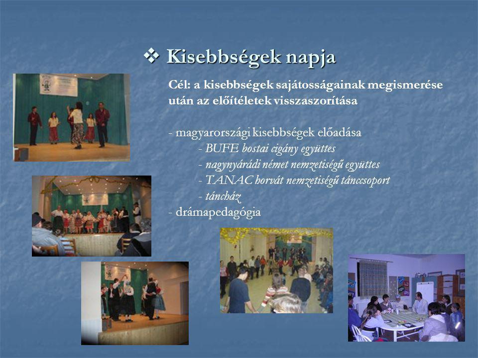  Kisebbségek napja Cél: a kisebbségek sajátosságainak megismerése után az előítéletek visszaszorítása - magyarországi kisebbségek előadása - BUFE bos