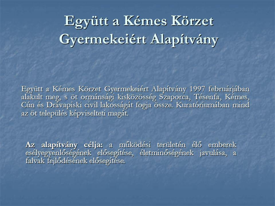 Együtt a Kémes Körzet Gyermekeiért Alapítvány Együtt a Kémes Körzet Gyermekeiért Alapítvány 1997 februárjában alakult meg, s öt ormánsági kisközösség