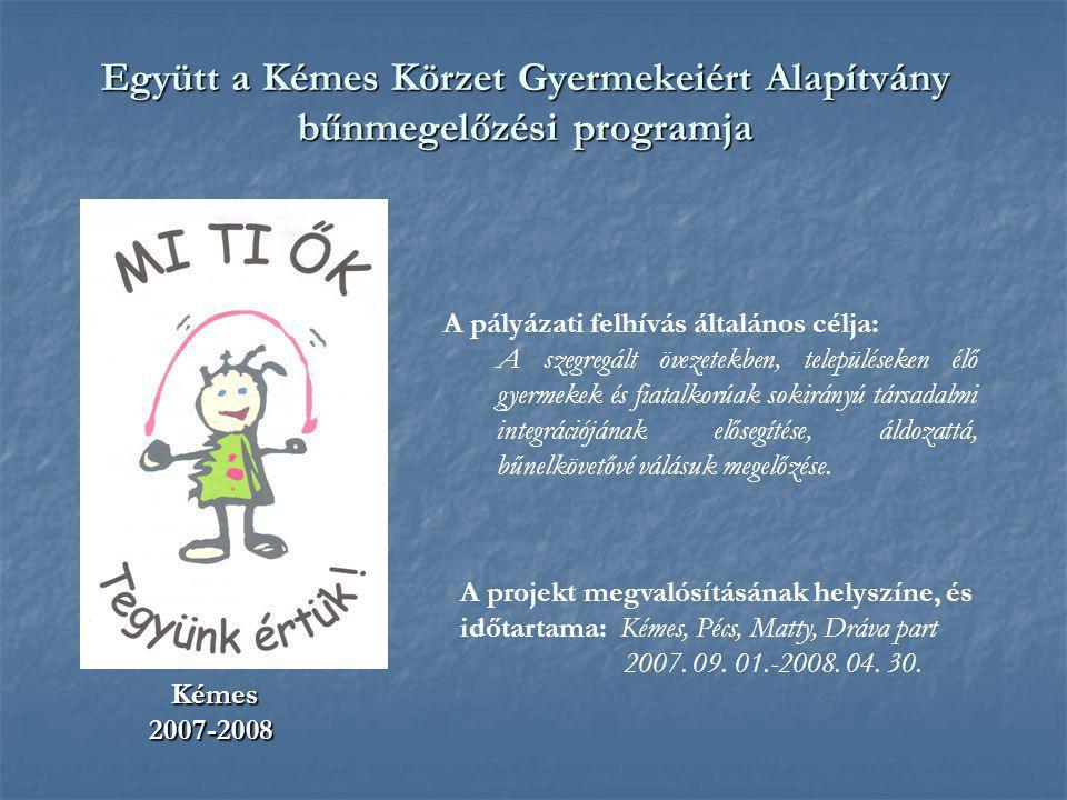 Együtt a Kémes Körzet Gyermekeiért Alapítvány bűnmegelőzési programja Kémes Kémes2007-2008 A pályázati felhívás általános célja: A szegregált övezetek