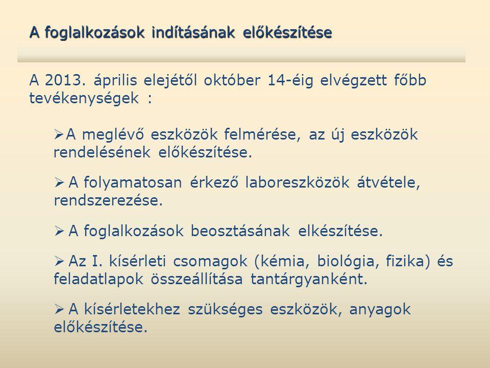 A 2013. április elejétől október 14-éig elvégzett főbb tevékenységek :  A meglévő eszközök felmérése, az új eszközök rendelésének előkészítése.  A f