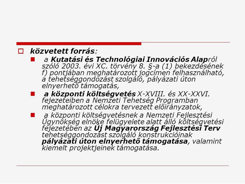  közvetett forrás:  a Kutatási és Technológiai Innovációs Alapról szóló 2003.