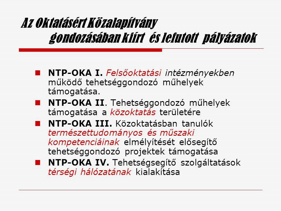 Az Oktatásért Közalapítvány gondozásában kiírt és lefutott pályázatok  NTP-OKA I.