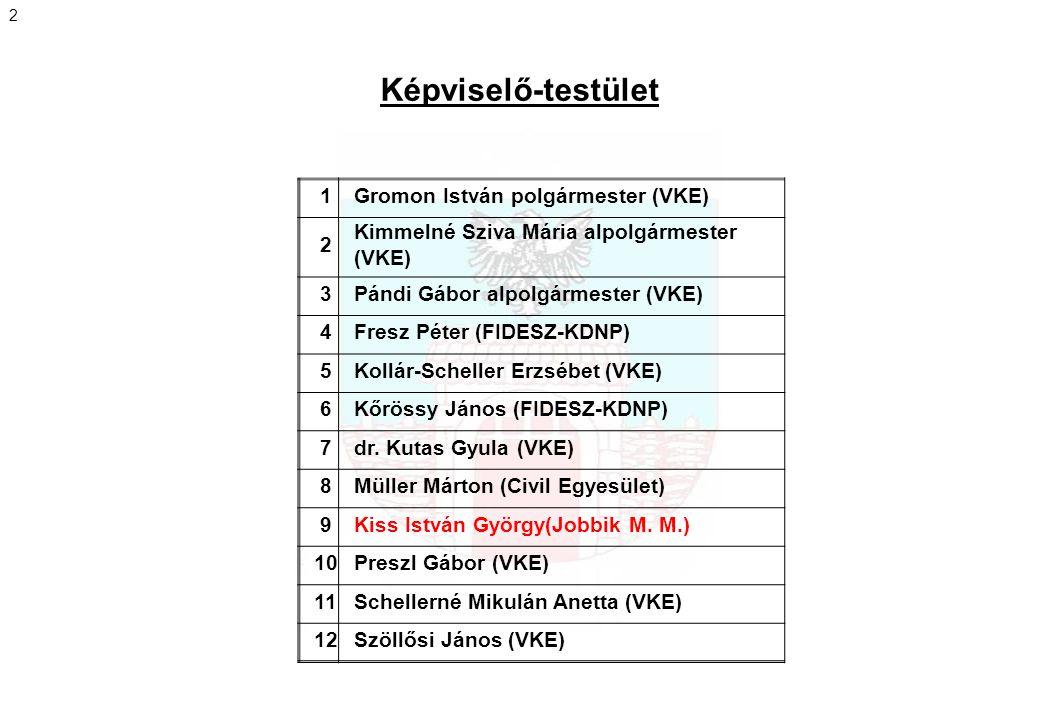 Képviselő-testület 1Gromon István polgármester (VKE) 2 Kimmelné Sziva Mária alpolgármester (VKE) 3Pándi Gábor alpolgármester (VKE) 4Fresz Péter (FIDES