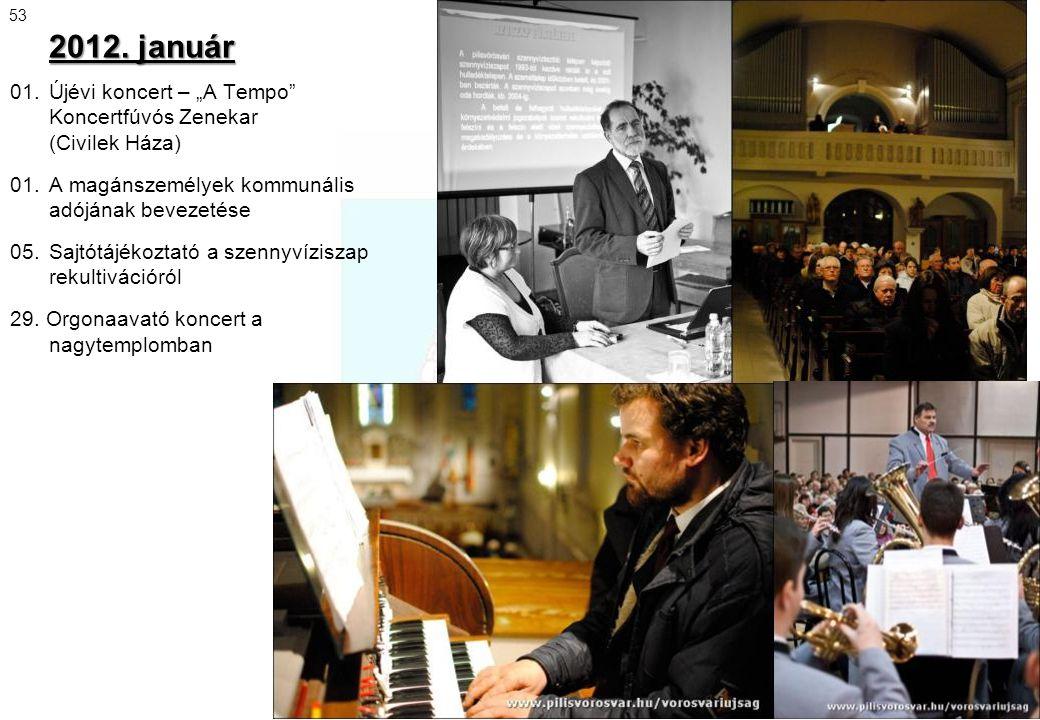 """2012. január 01. Újévi koncert – """"A Tempo"""" Koncertfúvós Zenekar (Civilek Háza) 01. A magánszemélyek kommunális adójának bevezetése 05. Sajtótájékoztat"""