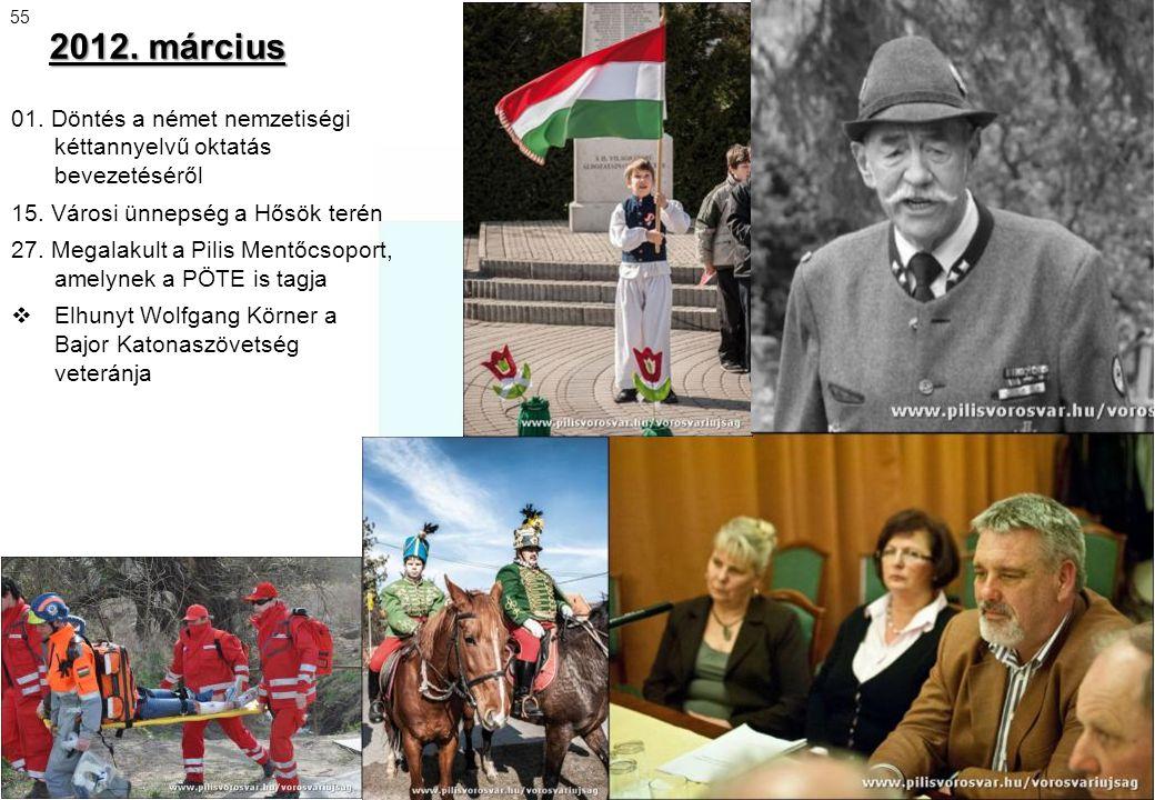 2012. március 01. Döntés a német nemzetiségi kéttannyelvű oktatás bevezetéséről 15. Városi ünnepség a Hősök terén 27. Megalakult a Pilis Mentőcsoport,