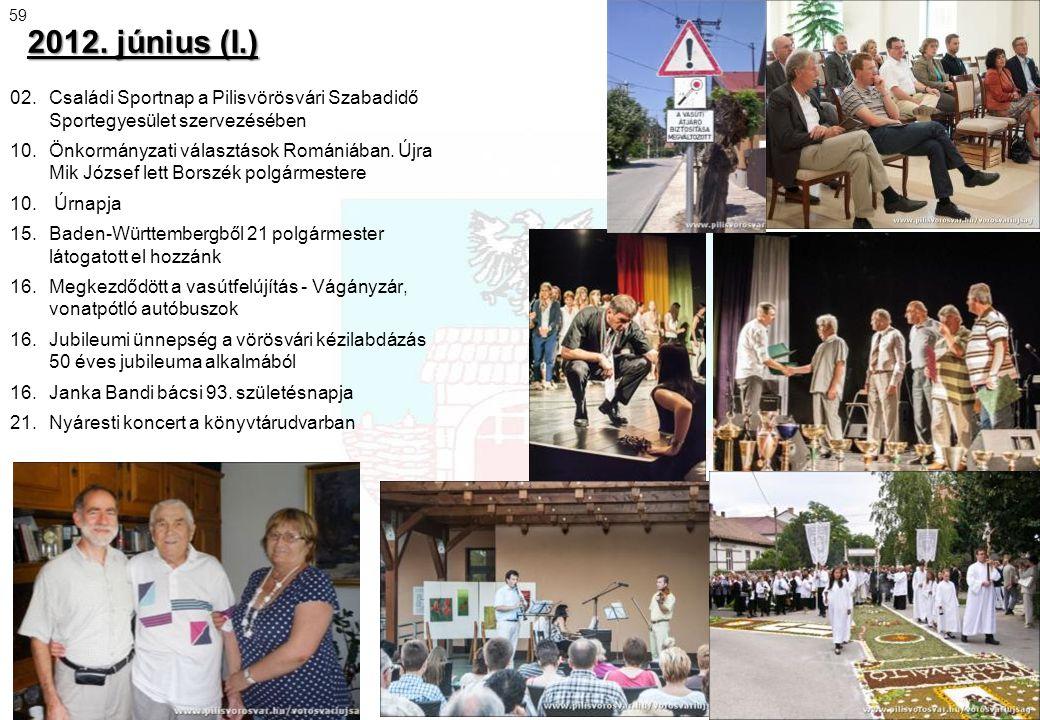 2012. június (I.) 02. Családi Sportnap a Pilisvörösvári Szabadidő Sportegyesület szervezésében 10. Önkormányzati választások Romániában. Újra Mik Józs