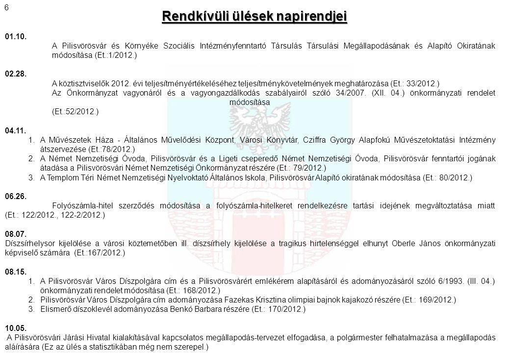 Új rendeletek Új rendeletek (2011.október – 2012.