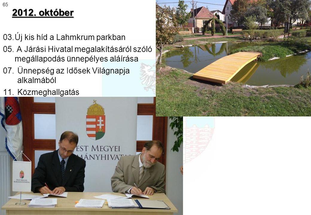 2012. október 03.Új kis híd a Lahmkrum parkban 05. A Járási Hivatal megalakításáról szóló megállapodás ünnepélyes aláírása 07.Ünnepség az Idősek Világ