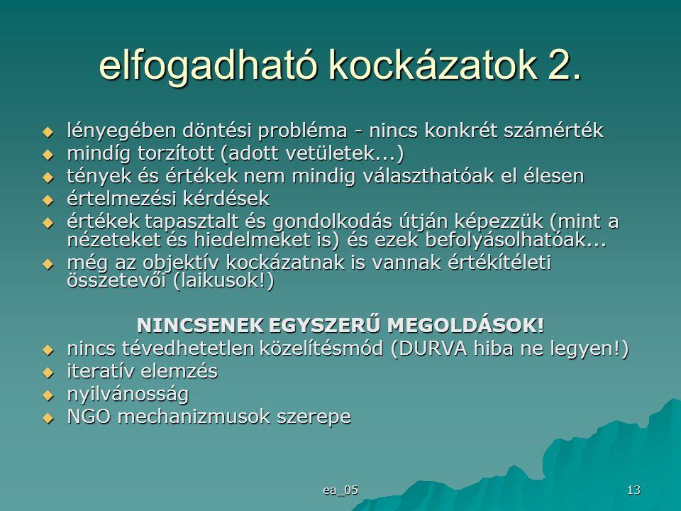 ea_05 13 elfogadható kockázatok 2.  lényegében döntési probléma - nincs konkrét számérték  mindíg torzított (adott vetületek...)  tények és értékek