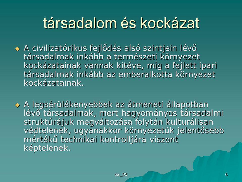 ea_05 6 társadalom és kockázat  A civilizatórikus fejlődés alsó szintjein lévő társadalmak inkább a természeti környezet kockázatainak vannak kitéve,
