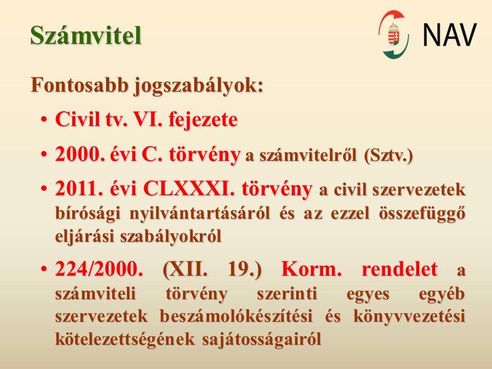 Számvitel Fontosabb jogszabályok: •Civil tv. VI. fejezete •2000. évi C. törvény a számvitelről (Sztv.) •2011. évi CLXXXI. törvény a civil szervezetek