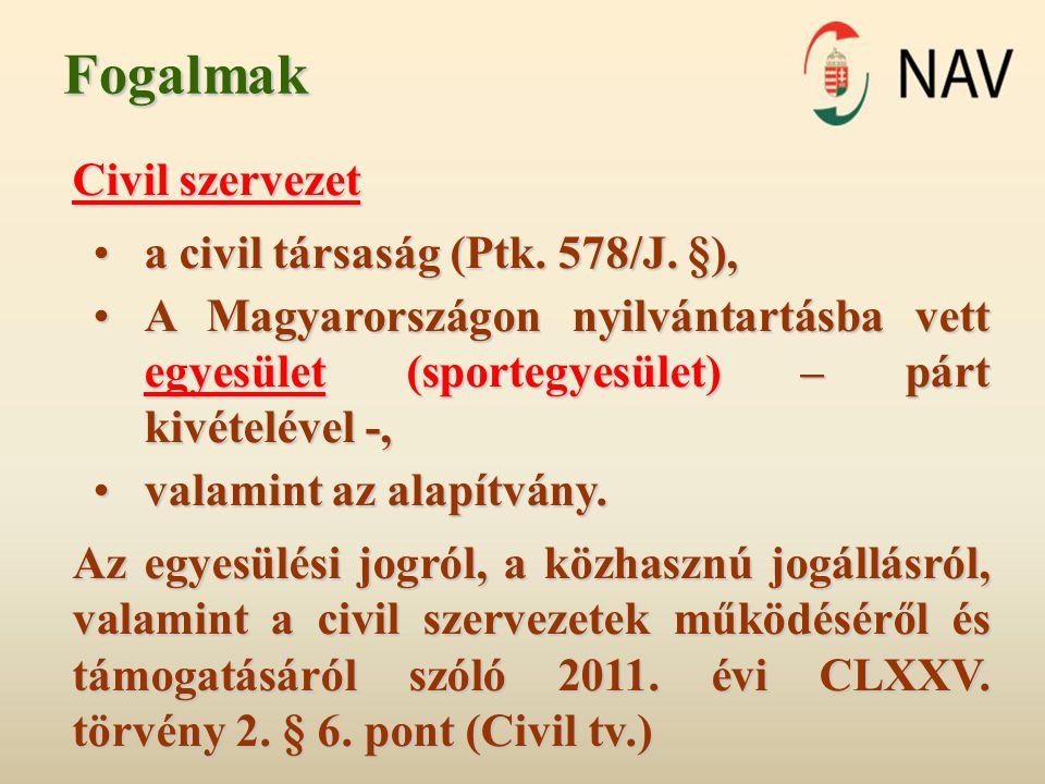 Fogalmak Civil szervezet •a civil társaság (Ptk. 578/J. §), •A Magyarországon nyilvántartásba vett egyesület (sportegyesület) – párt kivételével -, •v