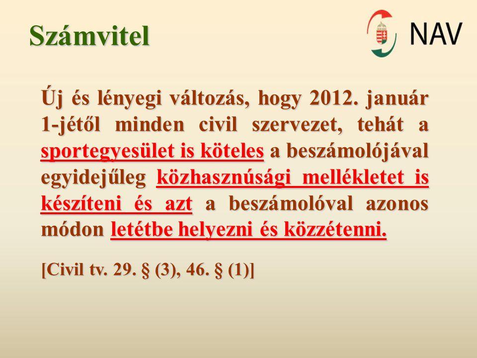 Számvitel Új és lényegi változás, hogy 2012. január 1-jétől minden civil szervezet, tehát a sportegyesület is köteles a beszámolójával egyidejűleg köz