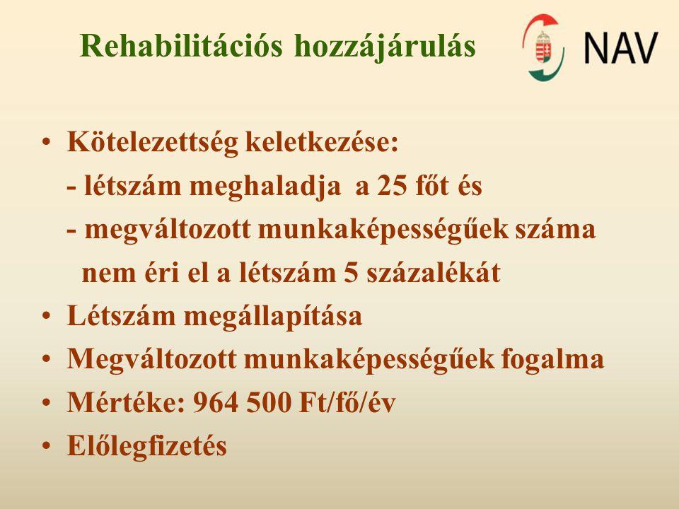 Rehabilitációs hozzájárulás •Kötelezettség keletkezése: - létszám meghaladja a 25 főt és - megváltozott munkaképességűek száma nem éri el a létszám 5