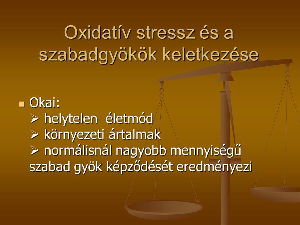 Oxidatív stressz és a szabadgyökök keletkezése  Okai:  helytelen életmód  környezeti ártalmak  normálisnál nagyobb mennyiségű szabad gyök képződés