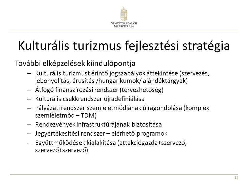 13 Kulturális turizmus fejlesztési stratégia További elképzelések kiindulópontja – Kulturális turizmust érintő jogszabályok áttekintése (szervezés, lebonyolítás, árusítás /hungarikumok/ ajándéktárgyak) – Átfogó finanszírozási rendszer (tervezhetőség) – Kulturális csekkrendszer újradefiniálása – Pályázati rendszer szemléletmódjának újragondolása (komplex szemléletmód – TDM) – Rendezvények infrastruktúrájának biztosítása – Jegyértékesítési rendszer – elérhető programok – Együttműködések kialakítása (attakciógazda+szervező, szervező+szervező)