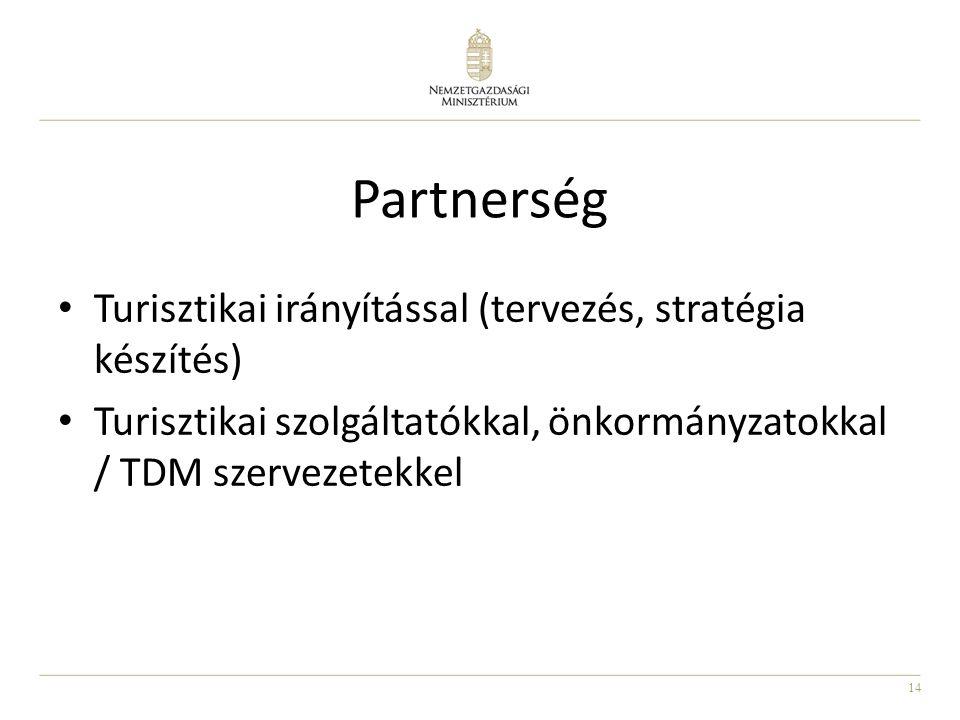 14 Partnerség • Turisztikai irányítással (tervezés, stratégia készítés) • Turisztikai szolgáltatókkal, önkormányzatokkal / TDM szervezetekkel