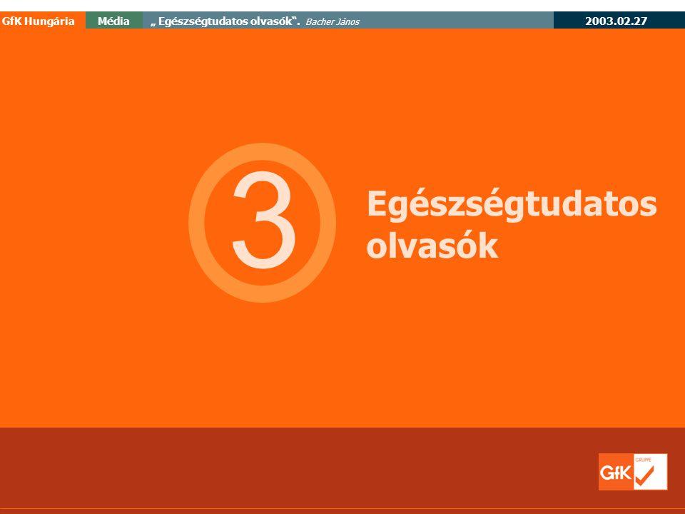 """2003.02.27 GfK HungáriaMédia"""" Egészségtudatos olvasók . Bacher János 3 Egészségtudatos olvasók"""