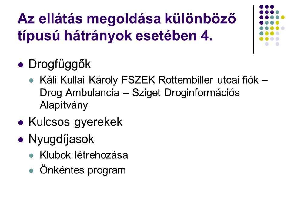 Az ellátás megoldása különböző típusú hátrányok esetében 4.  Drogfüggők  Káli Kullai Károly FSZEK Rottembiller utcai fiók – Drog Ambulancia – Sziget