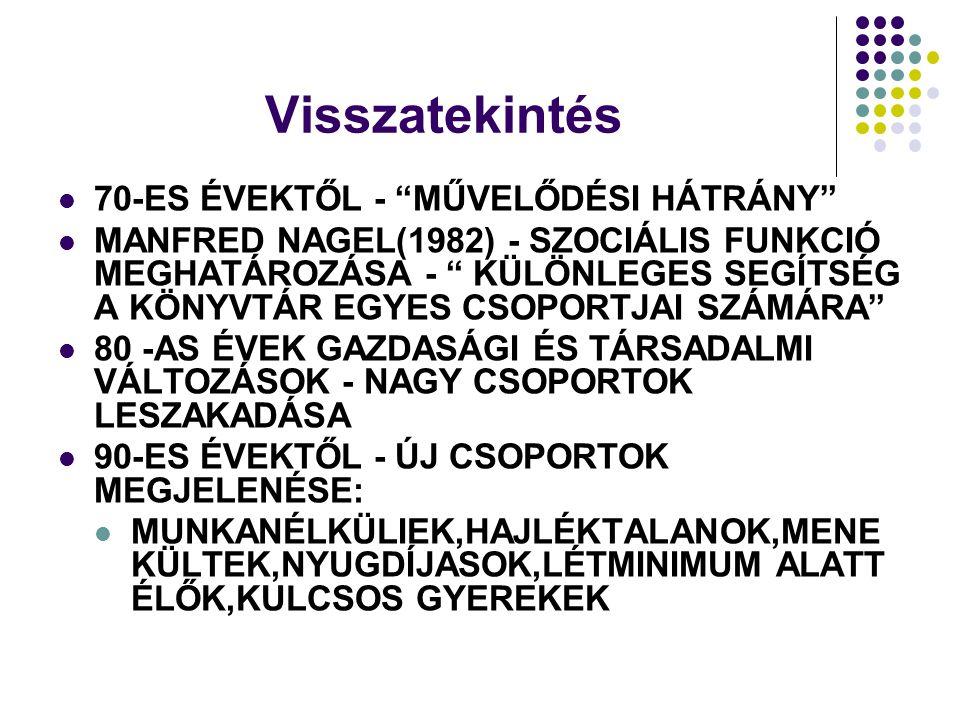 Visszatekintés  70-ES ÉVEKTŐL - MŰVELŐDÉSI HÁTRÁNY  MANFRED NAGEL(1982) - SZOCIÁLIS FUNKCIÓ MEGHATÁROZÁSA - KÜLÖNLEGES SEGÍTSÉG A KÖNYVTÁR EGYES CSOPORTJAI SZÁMÁRA  80 -AS ÉVEK GAZDASÁGI ÉS TÁRSADALMI VÁLTOZÁSOK - NAGY CSOPORTOK LESZAKADÁSA  90-ES ÉVEKTŐL - ÚJ CSOPORTOK MEGJELENÉSE:  MUNKANÉLKÜLIEK,HAJLÉKTALANOK,MENE KÜLTEK,NYUGDÍJASOK,LÉTMINIMUM ALATT ÉLŐK,KULCSOS GYEREKEK