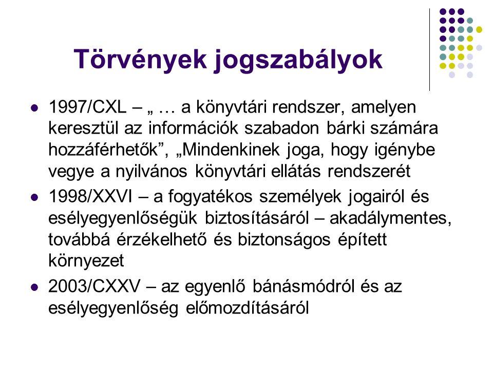 """Törvények jogszabályok  1997/CXL – """" … a könyvtári rendszer, amelyen keresztül az információk szabadon bárki számára hozzáférhetők , """"Mindenkinek joga, hogy igénybe vegye a nyilvános könyvtári ellátás rendszerét  1998/XXVI – a fogyatékos személyek jogairól és esélyegyenlőségük biztosításáról – akadálymentes, továbbá érzékelhető és biztonságos épített környezet  2003/CXXV – az egyenlő bánásmódról és az esélyegyenlőség előmozdításáról"""