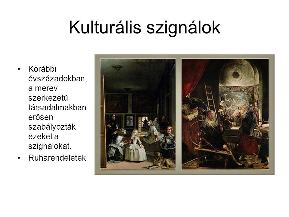 Kulturális szignálok •Korábbi évszázadokban, a merev szerkezetű társadalmakban erősen szabályozták ezeket a szignálokat. •Ruharendeletek