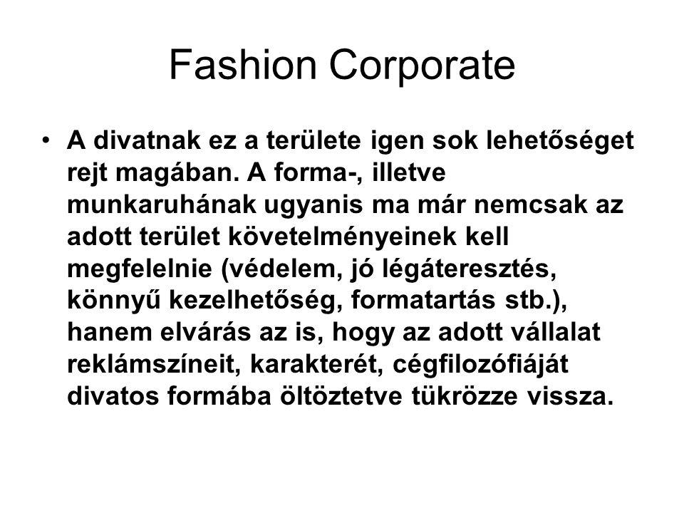•A divatnak ez a területe igen sok lehetőséget rejt magában. A forma-, illetve munkaruhának ugyanis ma már nemcsak az adott terület követelményeinek k