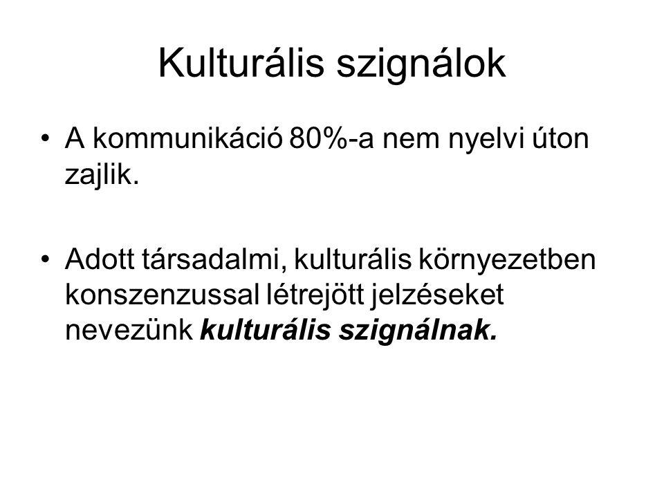 Kulturális szignálok •A kommunikáció 80%-a nem nyelvi úton zajlik. •Adott társadalmi, kulturális környezetben konszenzussal létrejött jelzéseket nevez