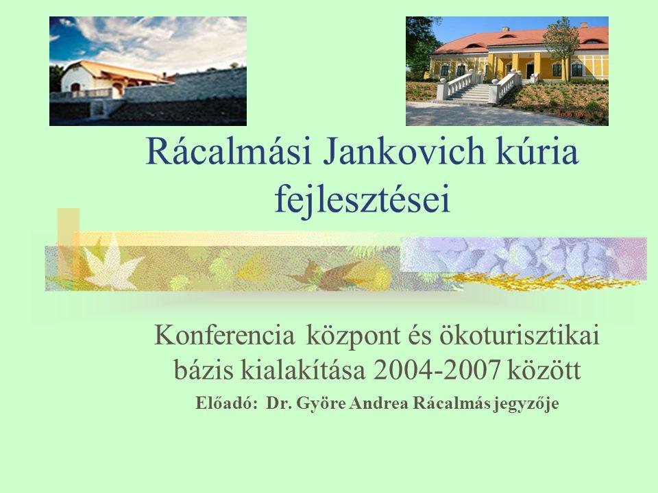 Rácalmási Jankovich kúria fejlesztései Konferencia központ és ökoturisztikai bázis kialakítása 2004-2007 között Előadó: Dr.