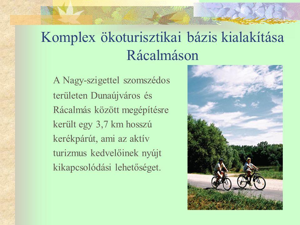 Komplex ökoturisztikai bázis kialakítása Rácalmáson A Nagy-szigettel szomszédos területen Dunaújváros és Rácalmás között megépítésre került egy 3,7 km hosszú kerékpárút, ami az aktív turizmus kedvelőinek nyújt kikapcsolódási lehetőséget.