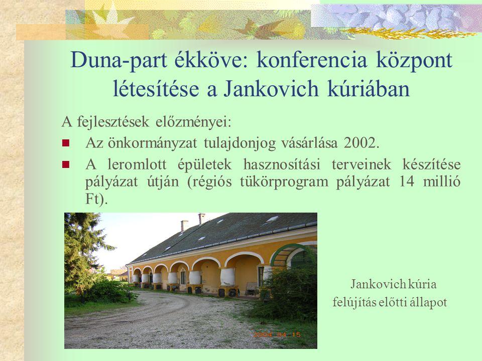 Duna-part ékköve: konferencia központ létesítése a Jankovich kúriában  2003 november PHARE Orpheus pályázat benyújtása, Duna-part ékköve: konferencia központ létesítése a Jankovich kúriában.