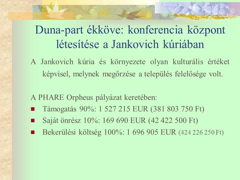 Duna-part ékköve: konferencia központ létesítése a Jankovich kúriában A Jankovich kúria és környezete olyan kulturális értéket képvisel, melynek megőrzése a település felelősége volt.