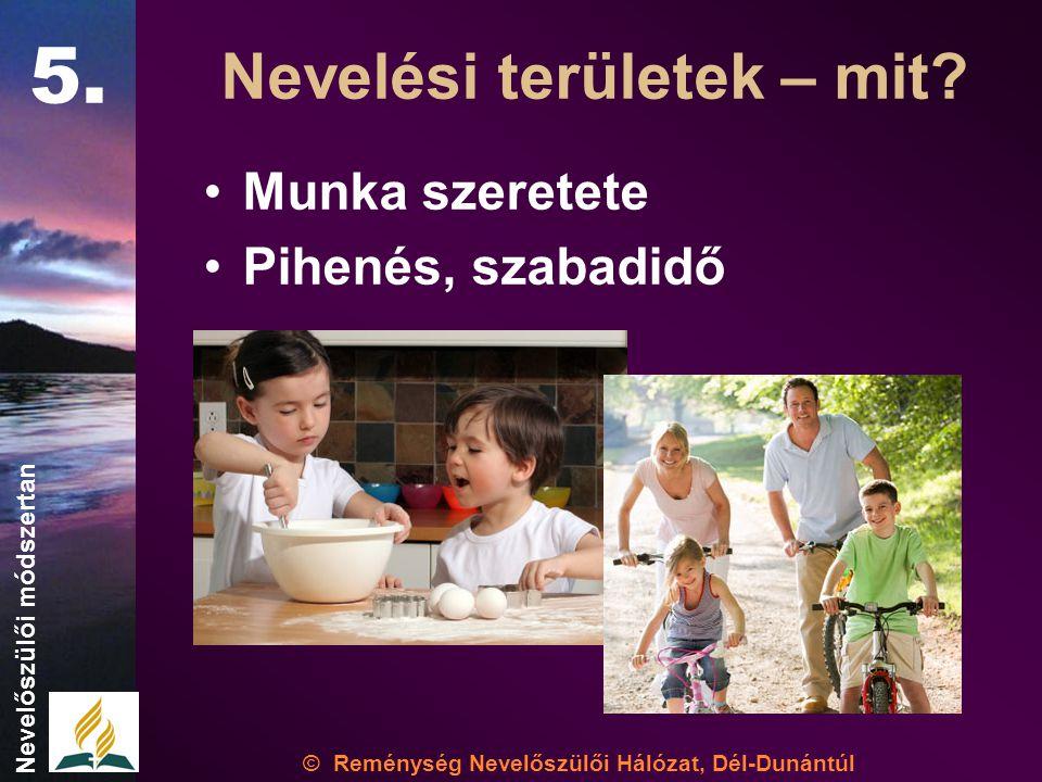 •Munka szeretete •Pihenés, szabadidő © Reménység Nevelőszülői Hálózat, Dél-Dunántúl Nevelőszülői módszertan Nevelési területek – mit.