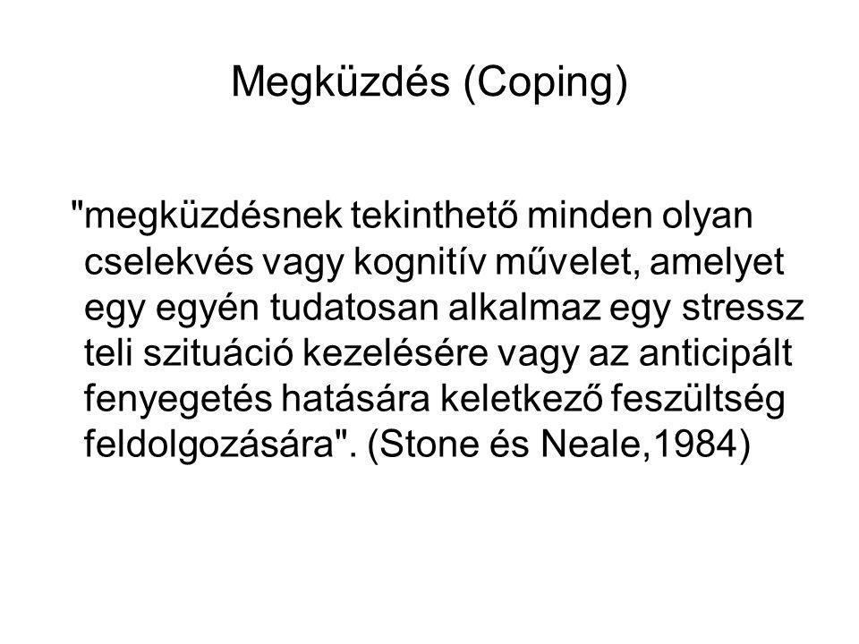 Megküzdés (Coping) megküzdésnek tekinthető minden olyan cselekvés vagy kognitív művelet, amelyet egy egyén tudatosan alkalmaz egy stressz teli szituáció kezelésére vagy az anticipált fenyegetés hatására keletkező feszültség feldolgozására .