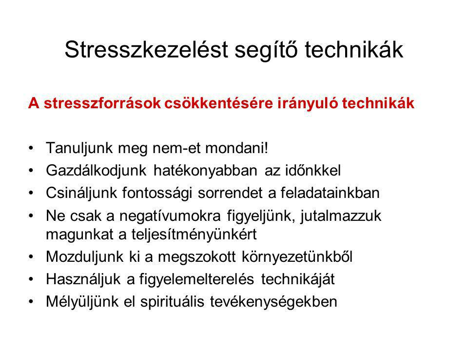 Stresszkezelést segítő technikák A stresszforrások csökkentésére irányuló technikák •Tanuljunk meg nem-et mondani! •Gazdálkodjunk hatékonyabban az idő