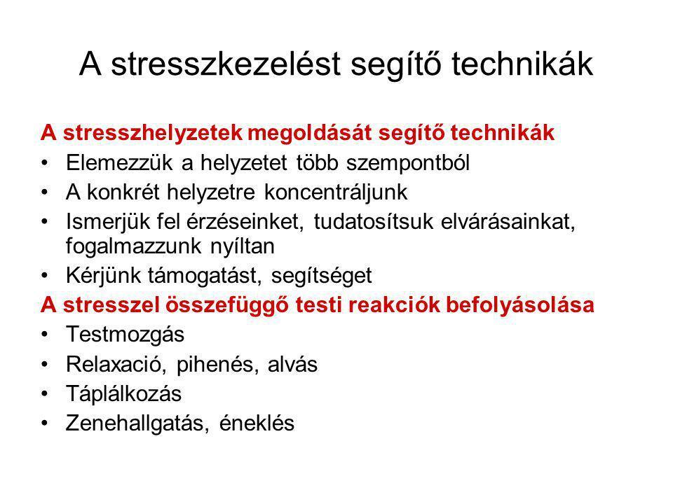 A stresszkezelést segítő technikák A stresszhelyzetek megoldását segítő technikák •Elemezzük a helyzetet több szempontból •A konkrét helyzetre koncentráljunk •Ismerjük fel érzéseinket, tudatosítsuk elvárásainkat, fogalmazzunk nyíltan •Kérjünk támogatást, segítséget A stresszel összefüggő testi reakciók befolyásolása •Testmozgás •Relaxació, pihenés, alvás •Táplálkozás •Zenehallgatás, éneklés