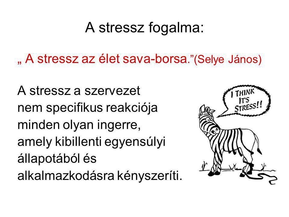 """A stresszt kiváltó tényezők (stresszorok) Mindazon ingerek, melyek a szervezetet alkalmazkodásra késztetik •Akut súlyos stressz, életesemények (balesetek, katasztrófák, háború, veszteségek) Cannon: """"fight or flight (üss vagy fuss) reakció •Krónikus stressz tartósan fennálló, relatíve alacsony intenzitású, de elkerülhetetlen stresszorok"""