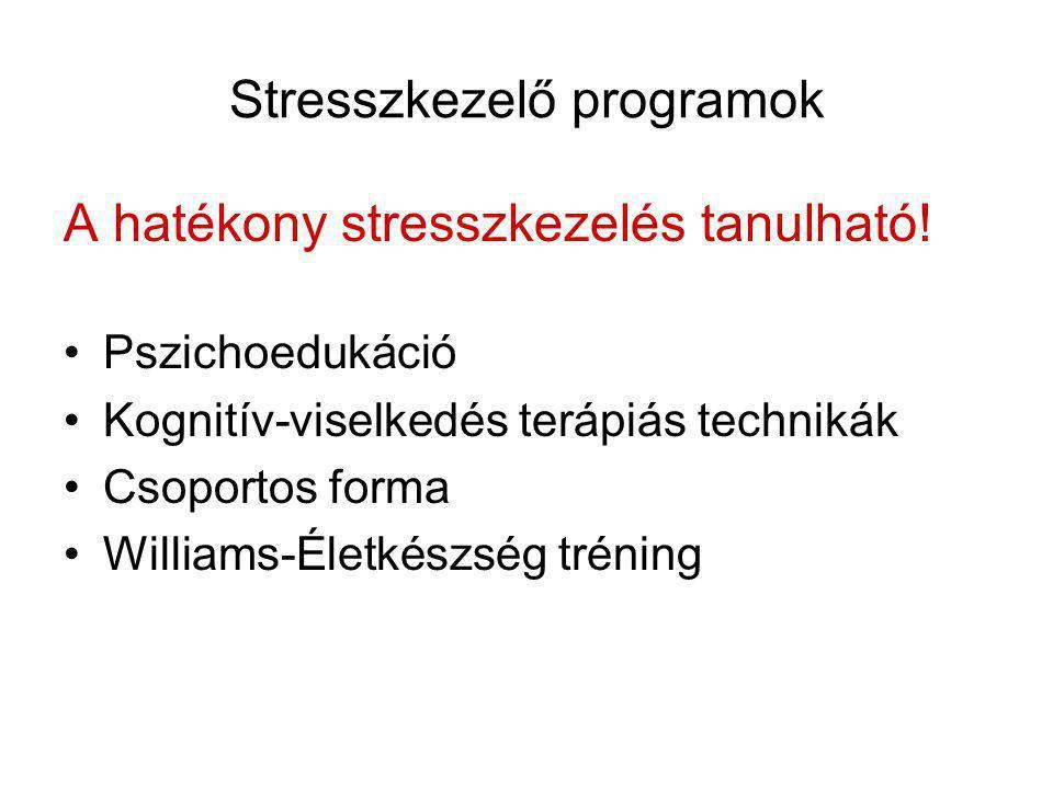 Stresszkezelő programok A hatékony stresszkezelés tanulható! •Pszichoedukáció •Kognitív-viselkedés terápiás technikák •Csoportos forma •Williams-Életk