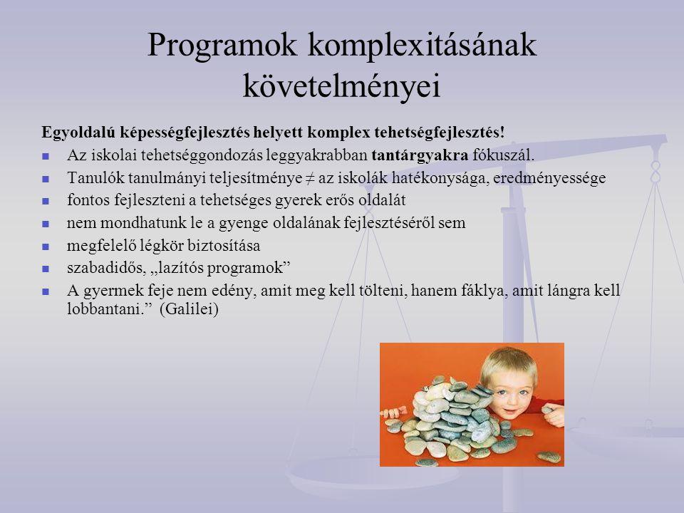 Programok komplexitásának követelményei Egyoldalú képességfejlesztés helyett komplex tehetségfejlesztés!   Az iskolai tehetséggondozás leggyakrabban